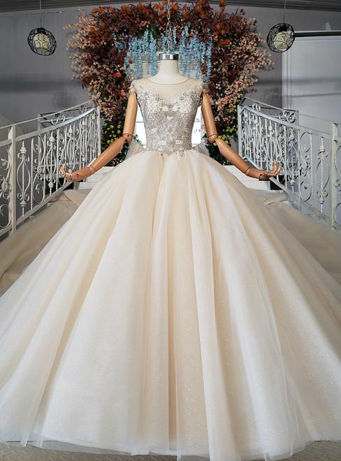 Impressive Champagne Tulle Backless Sleeveless Beading Wedding Dress