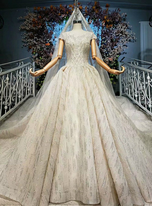 Hot Sale Champagne Ball Gown Tulle Sequins Cap Sleeve Wedding Dress
