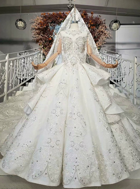 Ivory White Ball Gown Tulle Satin Long Sleeve Crystal Wedding Dress