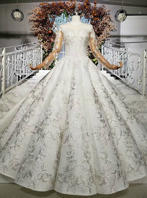 White Ball Gown Satin Long Sleeve Embroidery Appliques Wedding Dress With Long Train
