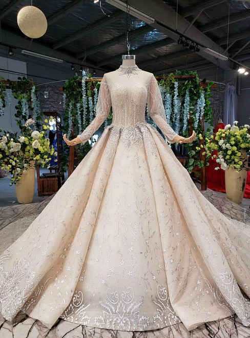 Attractive Champagne Ball Gown Tulle Sequins High Neck Long Sleeve Wedding Dress