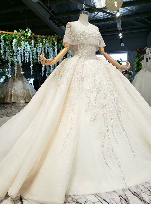 Champagne Ball Gown Tulle Seuqins Beading Wedding Dress With Long Train