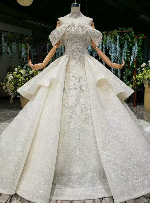 Champagne Ball Gown Off the Shoulder Appliques Wedding Dress With Train