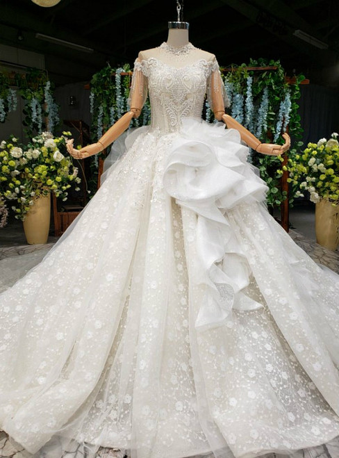Champagne Ball Gown Tulle Lace Off the Shoulder Short Sleeve Wedding Dress