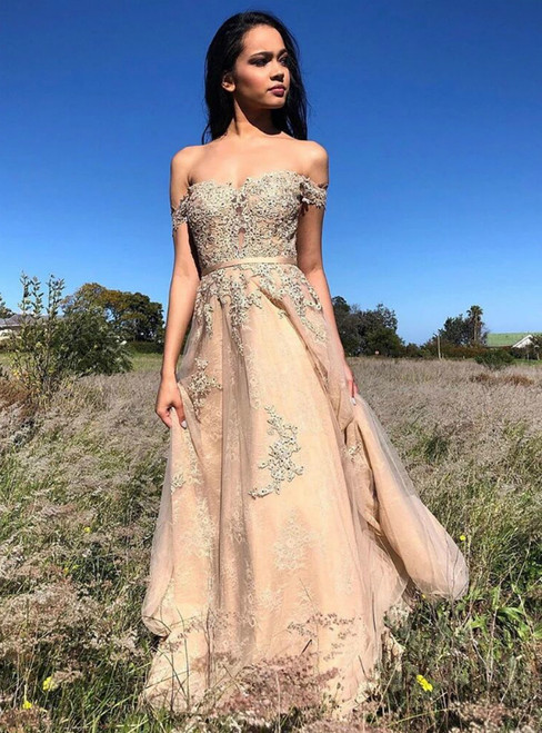 A-Line Champagne Tulle Appliques Off the Shoulder Prom Dress