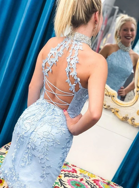 Light Blue Sheath Appliques High Neck Backless Homecoming Dress