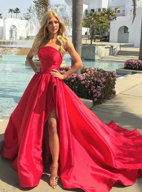 Red Ball Gown Strapless Long Formal Prom Dress With Side Split