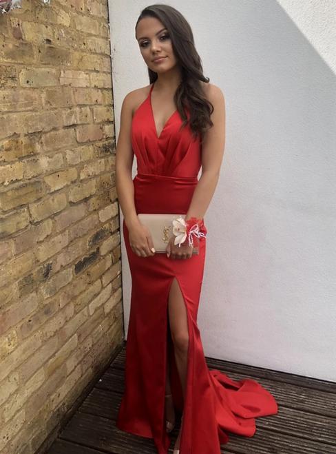 Sexy Red Mermaid Satin V-neck Backless Pleats Prom Dress