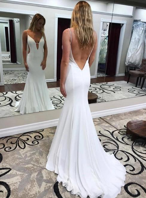 White Mermaid Satin Deep V-neck Backless Beading Prom Dress