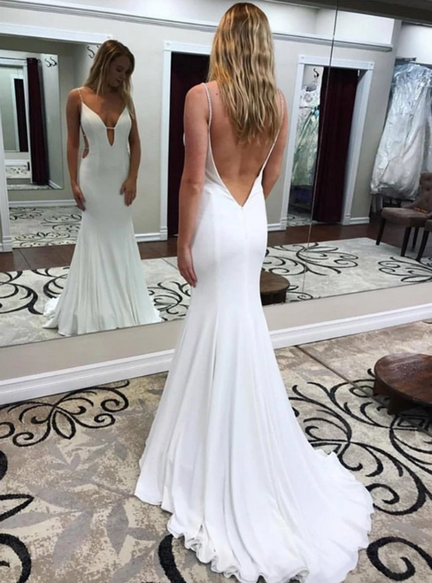 White Mermaid Satin Deep V-neck Backless Beading Prom Dress