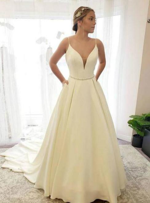 Ivory White Satin Spaghetti Straps Beading Wedding Dress With Pocket