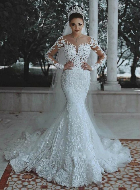 White Mermaid Tulle Lace Appliques Long Sleeve Wedding Dress