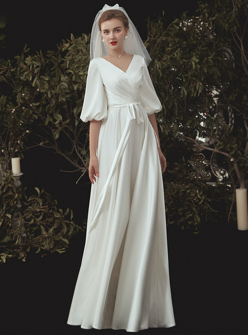 A-Line White Satin V-neck Backless Puff Sleeve Wedding Dress