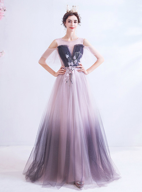 In Stock:Ship in 48 Hours A-Line Pink Tulle Appliques Prom Dress
