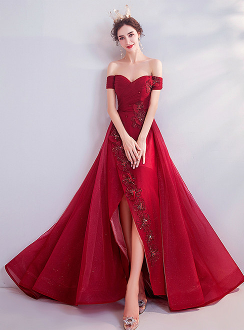 In Stock:Ship in 48 Hours Burgundy Off the Shoulder Pleats Appliques Prom Dress