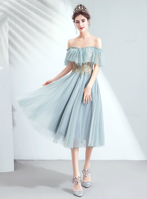 In Stock:Ship in 48 Hours Blue Tulle Off the Shoulder Homecoming Dress