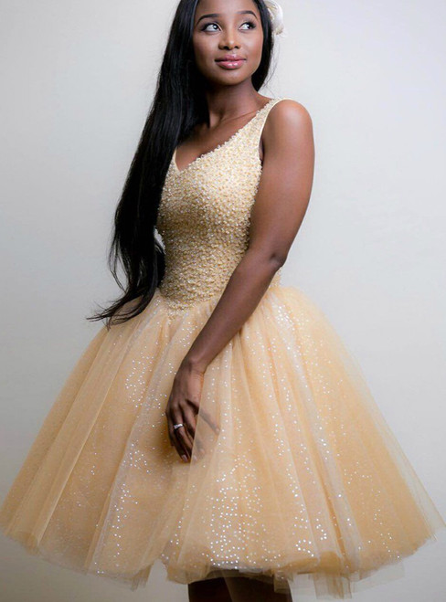 Short Beaded Bodice V-Neck Ball Gown Prom Dress in Glitter Champagne Tulle