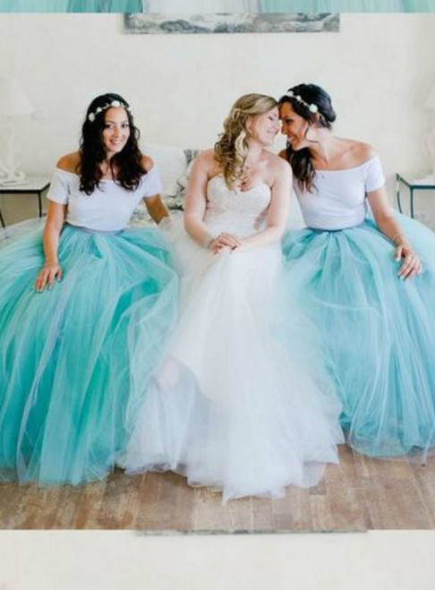 Two Pieces Prom Dress Tulle Prom Dress Fashion Bridesmaid Dress Sexy Party Dress