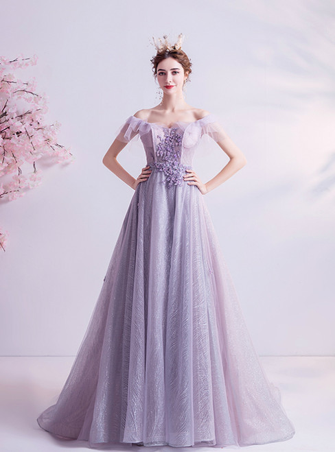 In Stock:Ship in 48 Hours Purple Tulle Off the Shoulder Appliques Prom Dress