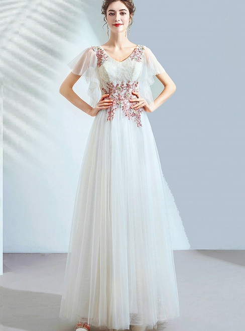 In Stock:Ship in 48 Hours V-neck Tulle Appliques Long Wedding Dress