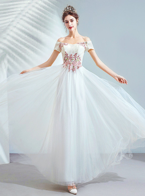 In Stock:Ship in 48 Hours White Tulle Off the Shoulder Short Sleeve Wedding Dress