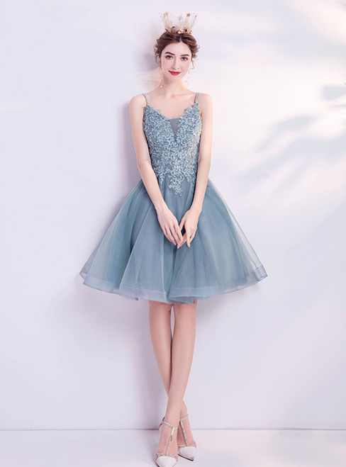 In Stock:Ship in 48 Hours Blue Tulle Spaghetti Straps Homecoming Dress