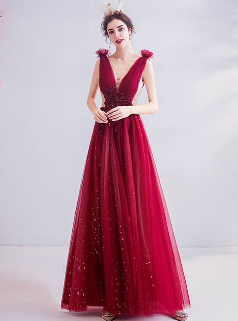 In Stock:Ship in 48 Hours Burgundy Tulle V-neck Pleats Prom Dress