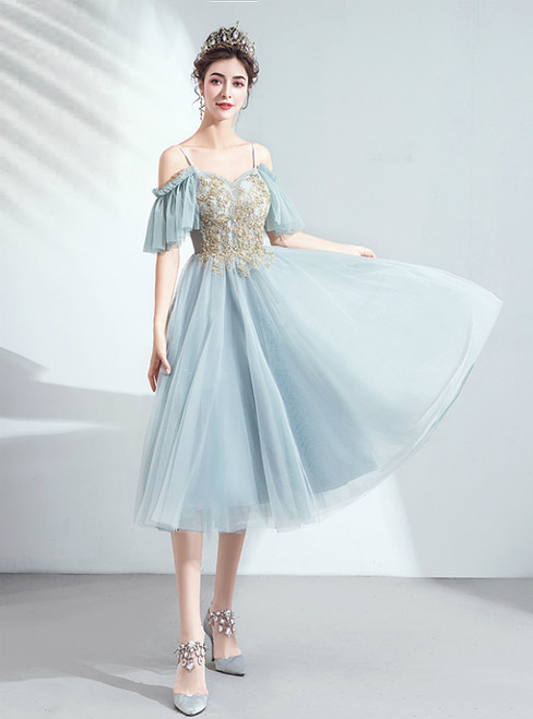 In Stock:Ship in 48 Hours Blue Tulle Spaghetti Straps Appliques Beading Short Prom Dress