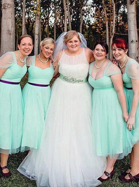 Gorgeous A-line Mint Green Short Bridesmaid Dress Party Dress