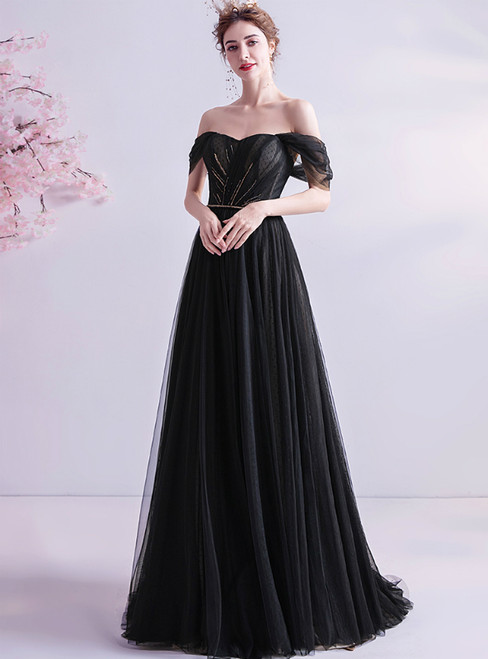 In Stock:Ship in 48 Hours Black Tulle Off the Shoulder Prom Dress
