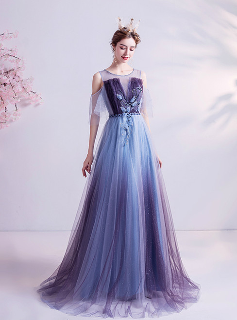 In Stock:Ship in 48 Hours Blue Tulle Beading Pleats Long Prom Dress