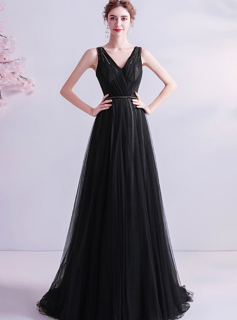 In Stock:Ship in 48 Hours Black Tulle V-neck Beading Prom Dress