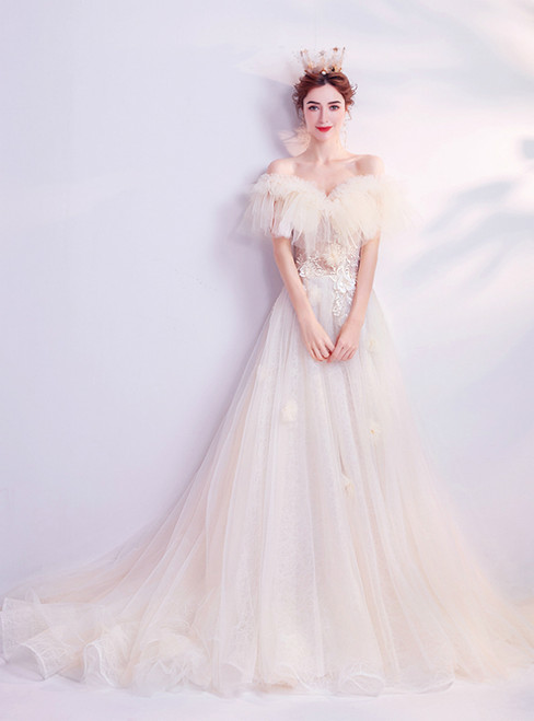 In Stock:Ship in 48 Hours Champagne Tulle Off the Shoulder Appliques Wedding Dress