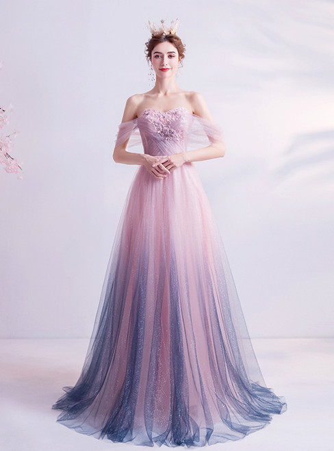 In Stock:Ship in 48 Hours Pink and Purple Tulle Appliques Prom Dress