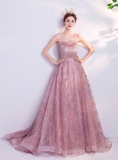 In Stock:Ship in 48 Hours Pink Tulle Spagehtti Straps Prom Dress