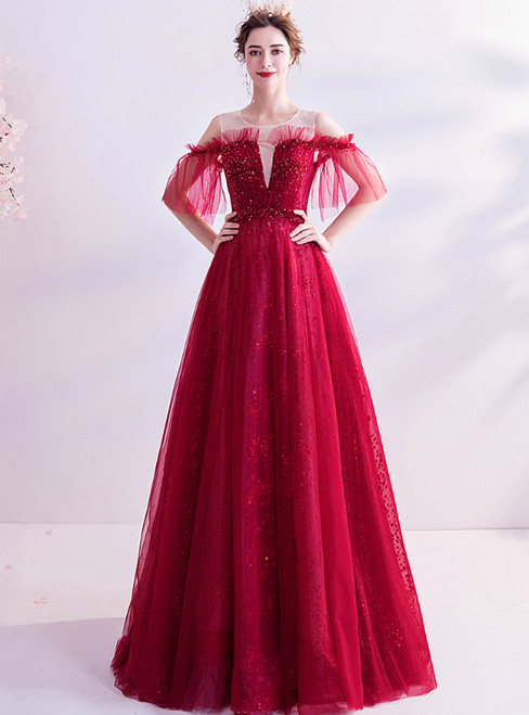 In Stock:Ship in 48 Hours Burgundy Tulle Beading Sequins Prom Dress
