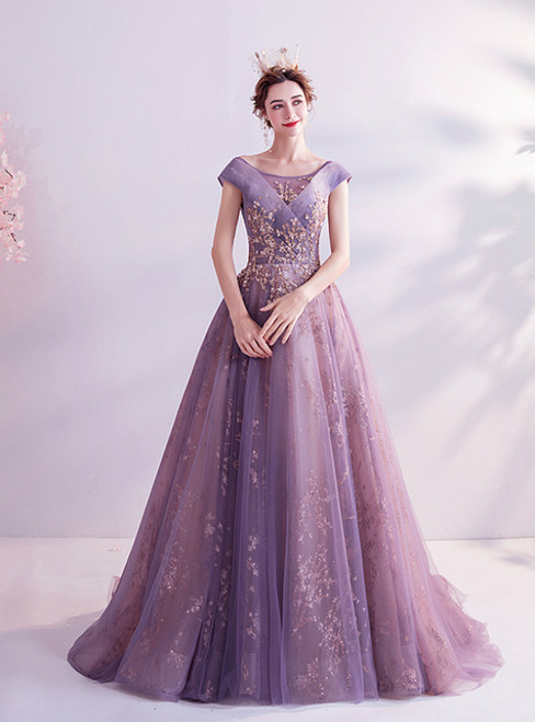 In Stock:Ship in 48 Hours Purple Tulle Sequins Bateau Beading Prom Dress