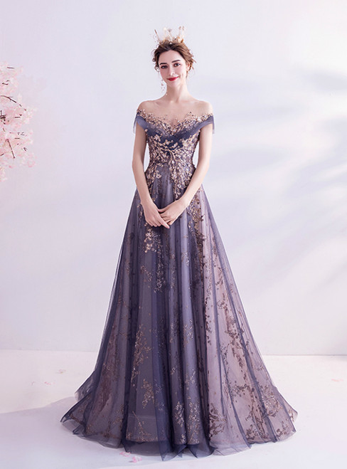 In Stock:Ship in 48 Hours Blue Tulle Sequins Cap Sleeve Prom Dress
