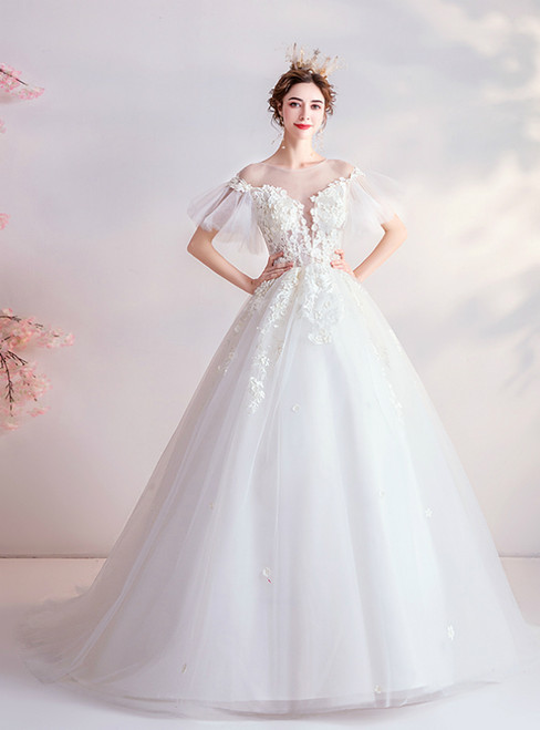 In Stock:Ship in 48 Hours White Ball Gown Tulle Appliques See Through Back Wedding Dress
