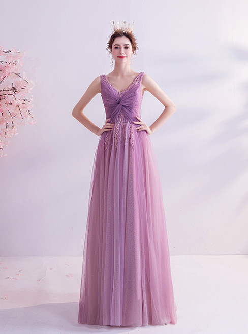 In Stock:Ship in 48 Hours  Purple V-neck Tulle Beading Prom Dress