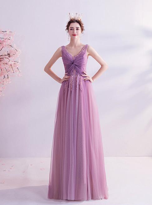 In Stock:Ship in 48 Hours  Purple V-neck Tulle Beading Prom Dress