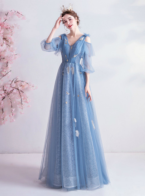 In Stock:Ship in 48 Hours Blue V-neck Tulle Pleats Prom Dress