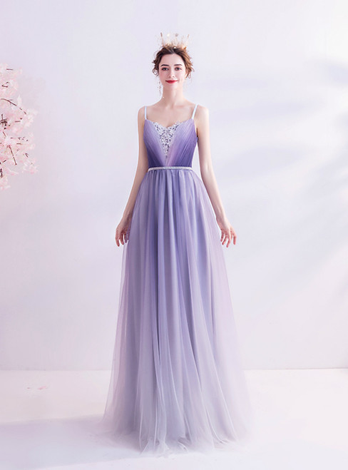 In Stock:Ship in 48 Hours Purple Tulle Spaghetti Straps Beading Prom Dress