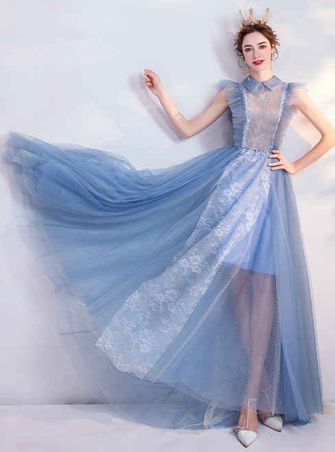 In Stock:Ship in 48 Hours Blue Lace Tulle Long Prom Dress