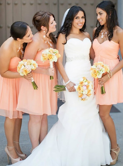 Sweetheart Short Bridesmaid Dresses with Soft Pleats Cute Chiffon Bridesmaid Gowns