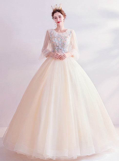 In Stock:Ship in 48 Hours Champagne Ball Gown Tulle Long Sleeve Wedding Dress
