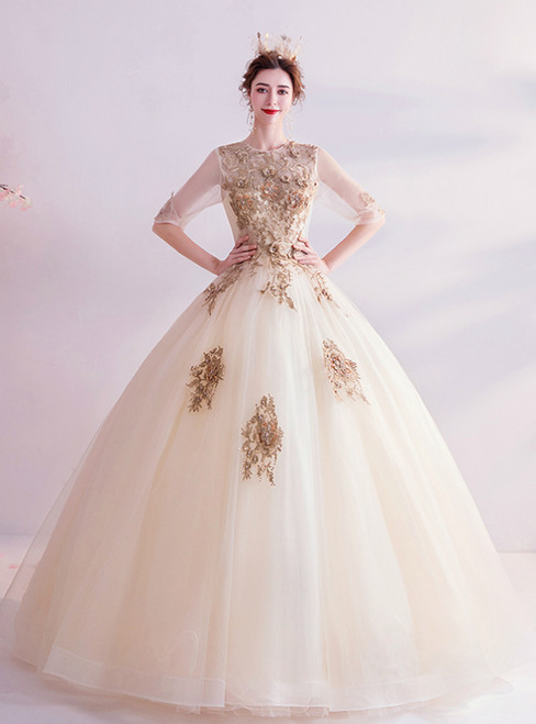 In Stock:Ship in 48 Hours Champagne Tulle Short Sleeve Appliques Wedding Dress