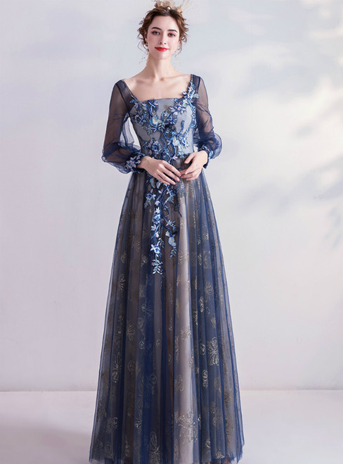 In Stock:Ship in 48 Hours Blue Square Long Sleeve Appliques Prom Dress