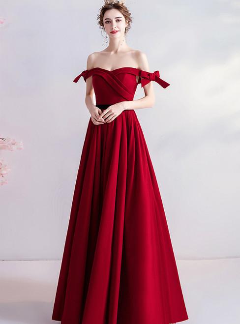 In Stock:Ship in 48 Hours A-Line Burgundy Velvet Off the Shoulder Prom Dress