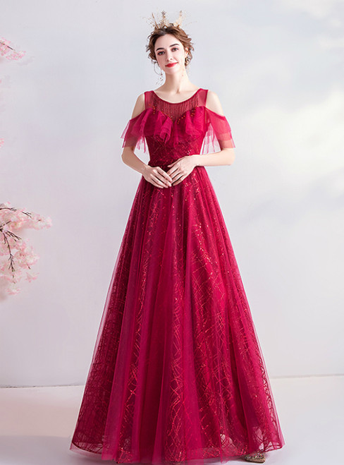 In Stock:Ship in 48 Hours Burgundy Tulle Sequins Beading Prom Dress